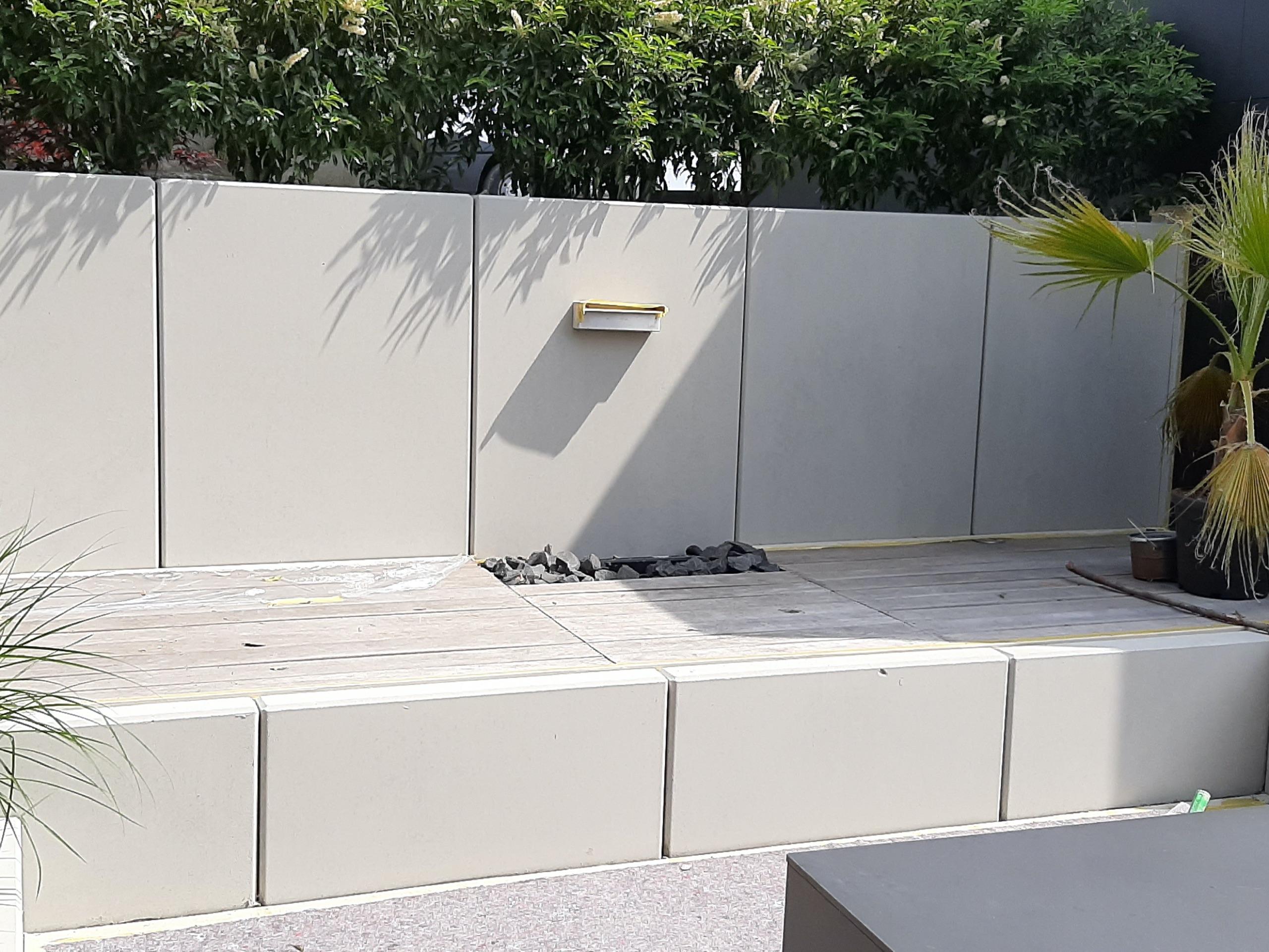 Gartenwände L-steinen Beton Kosmetik nachher