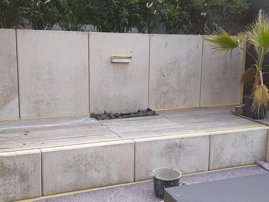 Gartenwände L-steinen Beton Kosmetik vorher