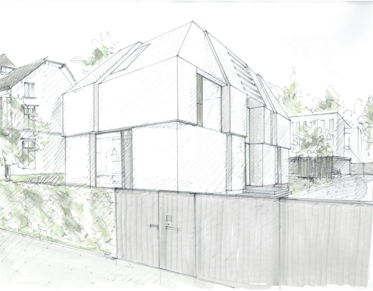 Einfamilienhaus Sichtbetonfassade